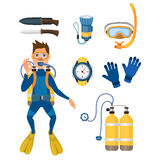 Spearfishing diving equipment vector set. Stock Photo