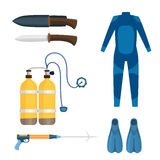 Spearfishing diving equipment vector set. Stock Photos