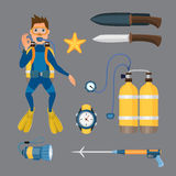 Spearfishing diving equipment vector set. Royalty Free Stock Photography