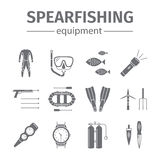 Spearfishing line icon set isolated. Diving icons. Vector illustration. Royalty Free Stock Photography