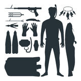 Spearfishing silhouette vector set. Royalty Free Stock Photo