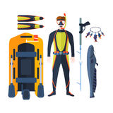 Spearfishing vector set. Stock Images