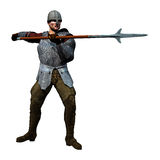 Spearman Receiving. 3D render of an armoured medieval soldier Stock Photography