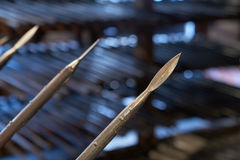 Spears. The medieval spears. In the background of the photo there are piles of spears. This photo was taken in Graz, Austria royalty free stock images