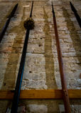 Spears in Museum. Old original spears in a museum showcase Royalty Free Stock Photo
