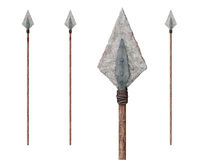 Spears. A set of three spears with stone and metal heads. The tip of one of them is reproduced in larger size. Isolated on white background.Transparent PNG Royalty Free Stock Images