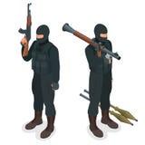 Spec ops警察在黑制服扑打 战士,官员,狙击手,特别行动单位,扑打等量平的3d 皇族释放例证