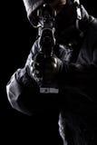 Spec ops żołnierz na czarnym tle Zdjęcie Stock