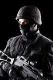 Spec ops żołnierz na czarnym tle Obraz Royalty Free
