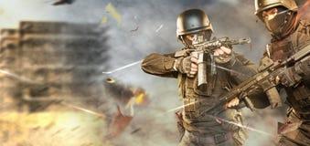 Spec ops police officer SWAT in black uniform studio royalty free stock image