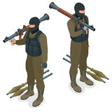 Spec ops police officers SWAT in black uniform. Soldier, officer, sniper, special operation unit, SWAT flat 3d isometric Royalty Free Stock Photo