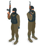 Spec ops police officers SWAT in black uniform. Soldier, officer, sniper, special operation unit, SWAT flat 3d isometric. Illustration. Soldier with anti-tank Stock Photography