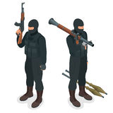 Spec ops police officers SWAT in black uniform. Soldier, officer, sniper, special operation unit, SWAT flat 3d isometric Stock Photos