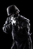 Spec ops soldier on black background. Spec ops soldier on the black background royalty free stock photos