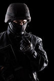 Spec ops soldier on black background Stock Photography