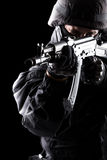 Spec ops soldier on black background Royalty Free Stock Photo