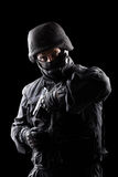Spec ops soldier on black background Royalty Free Stock Images
