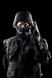 Spec ops soldier on black background Stock Image