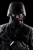 Spec ops soldier on black background Royalty Free Stock Image