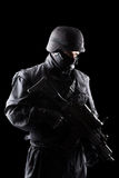 Spec ops soldier on black background Stock Images