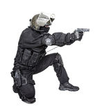 Spec ops soldier with pistol Royalty Free Stock Image