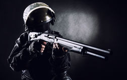 Spec ops soldier with shotgun Stock Photos
