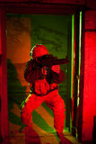 Specal forces soldier during night mission Royalty Free Stock Image
