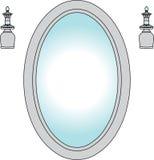 Specchio con i ripari chiari Fotografie Stock