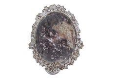 Specchio d'annata d'argento isolato Immagine Stock