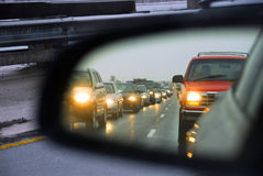 Specchio dell'ingorgo stradale Fotografie Stock Libere da Diritti