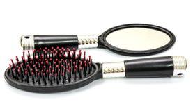 Specchio della spazzola per i capelli isolato su bianco Immagini Stock Libere da Diritti