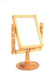 Specchio di legno d'annata isolato su fondo bianco Fotografia Stock