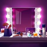 Specchio di trucco con l'illustrazione di vettore delle lampade illustrazione vettoriale