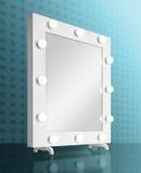 Specchio di trucco con le lampadine Fotografie Stock