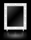 Specchio di trucco con le lampadine Fotografia Stock