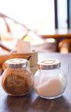 Specerij in glas voor voedsel stock afbeelding