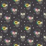 Speciaal naadloos patroon met schedel en bloemen royalty-vrije illustratie