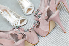Special. The bride and her bridesmaids's shoes being photographed Stock Image