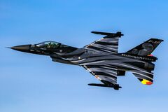 Free Special Airshow Painted Belgian Air Force F-16 Viper Fighter Jet In Flight. Belgium - September 14, 2019 Royalty Free Stock Photo - 202576835