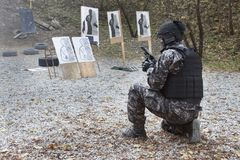 Special anti-terrorist squad. Coached at the shooting range Stock Photos