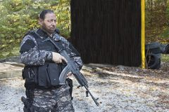 Special anti-terrorist squad. Coached at the shooting range, consultation, meeting Stock Images