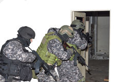Special anti-terrorist unit, knocking on doors Royalty Free Stock Photography