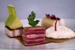 Special apetizer. Special appetizer. Ham, white cheese and others stock photo