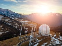 Special astrophysical observatory in the evening. Aerial view.  royalty free stock photo