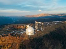 Special astrophysical observatory in the evening. Aerial view.  stock images