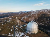 Special astrophysical observatory in the evening. Aerial view.  royalty free stock photography