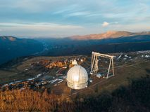 Special astrophysical observatory in the evening. Aerial view.  royalty free stock image