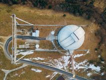 Special astrophysical observatory in the evening. Top view from drone.  stock photography