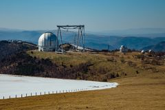 A special astrophysical observatory in North Caucasian mountains.  royalty free stock images