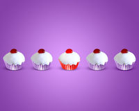 Special attractive red muffin cake. Between four muffin cake Stock Photo